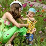 mujer, jardín, felicidad